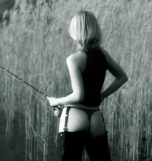 Fishing in waders black and white